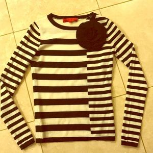 Long sleeve block stripe shirt with flower detail